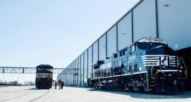 Locomotives outside GE Transportation, Fort Worth, Texas. Photo via GE Reports