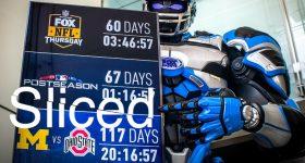 Sliced logo over the replica, 3D printed,FOX NFL robot. Original photo viaThingergy.