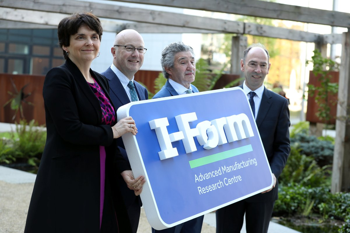 From left to right: UCD Professor Orla Freely, SFI Director General Prof Mark Ferguson, Ireland's Minister for Innovation, Research and Development John Halligan and I-Form Centre Director Prof Denis Dowling. Photo via SFI