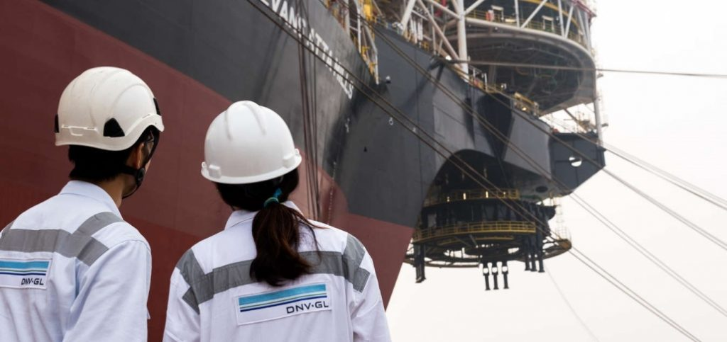 Surveyors on a shipbuilding project. Photo via DNV GL