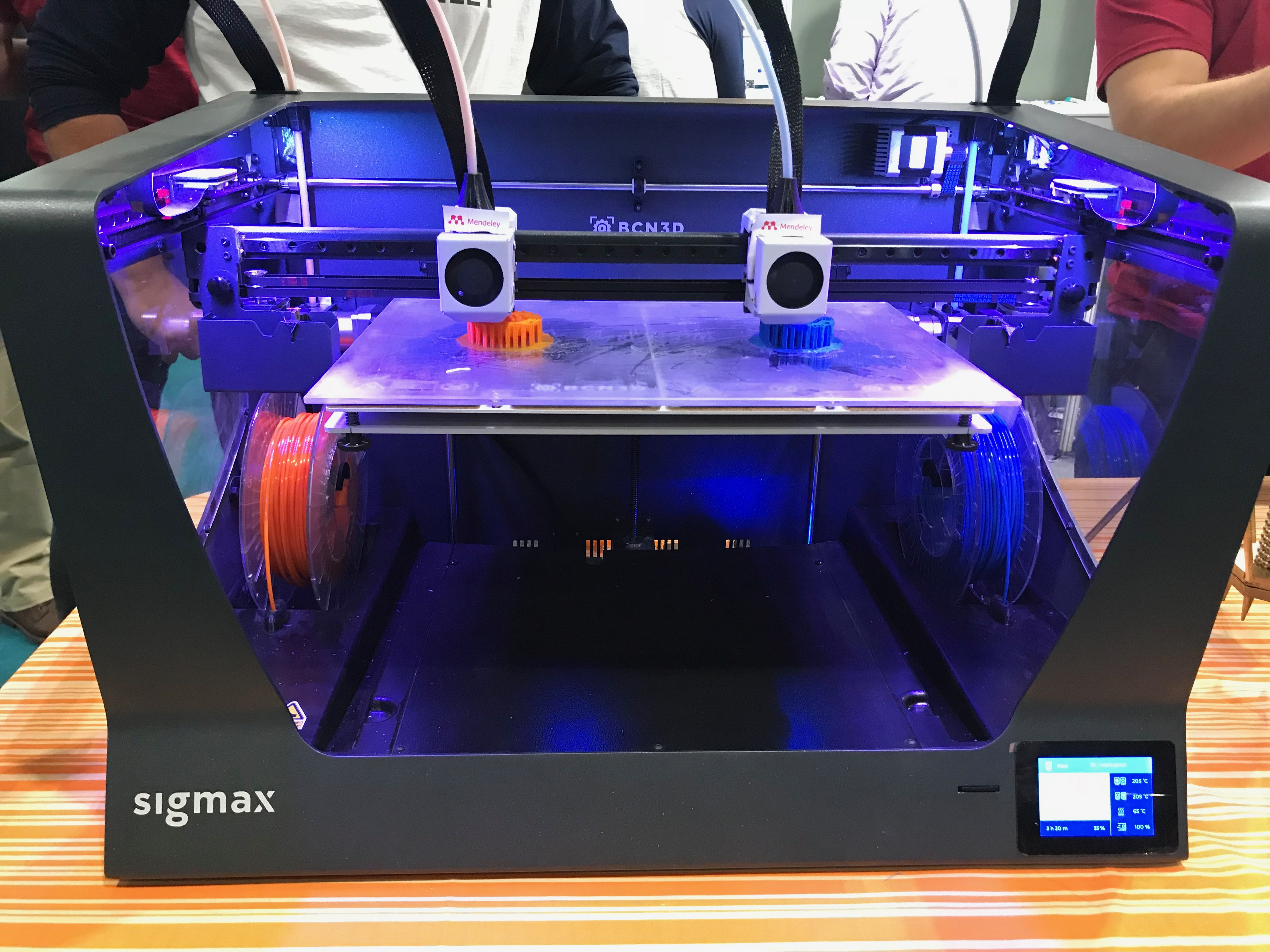 Sigmax BCN3D printer at Elsevier stand at NSL 2018. Photo by Swamini Khanvilkar.