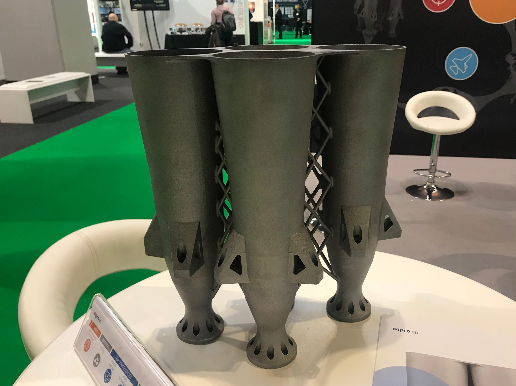 Wipro3D's metal 3D printed feed cluster at TCT 2018 in the UK. Photo by Swamini Khanvilkar