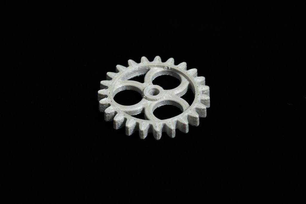 A gear 3D printed using the newly developed LCP material. Photo via ETH Zürich.