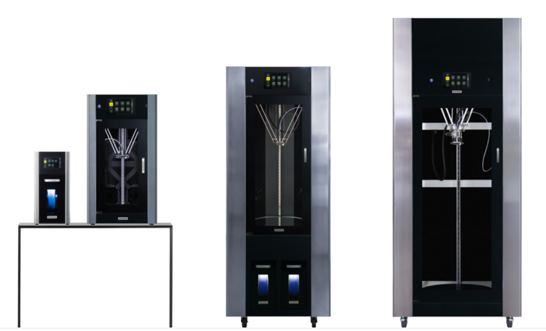 A collection of Mass Portal's 3D printers. Image via Mass Portal