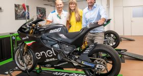 Left: Nicolas Goubert, MotoE Executive Director, Livia Cevolini CEO Energica, and Giampiero Testoni CTO at Energica with the Ego Corsa. Photo via Energica.