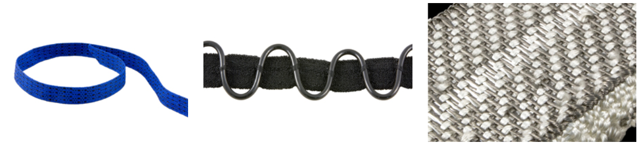 A selection of BRM's E-WEBBINGS made with conductive and non-conductive fibers. Image via Bally Ribbon Mills