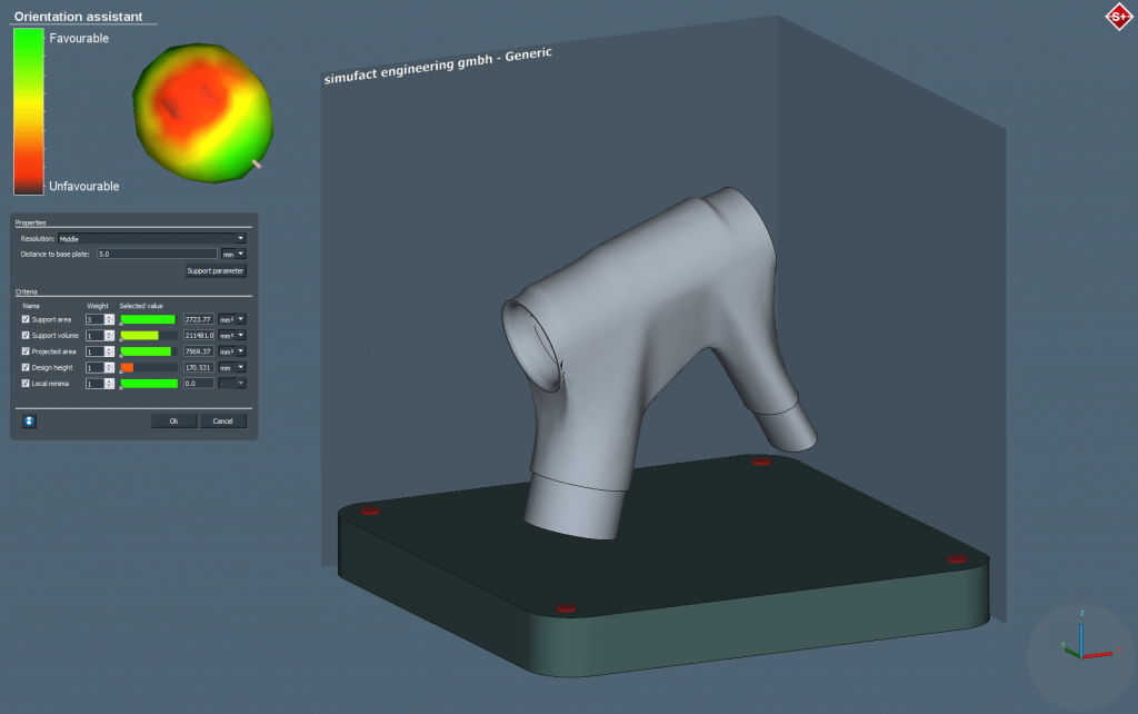 Simufact Additive for build orientation optomization. Image via Simufact.