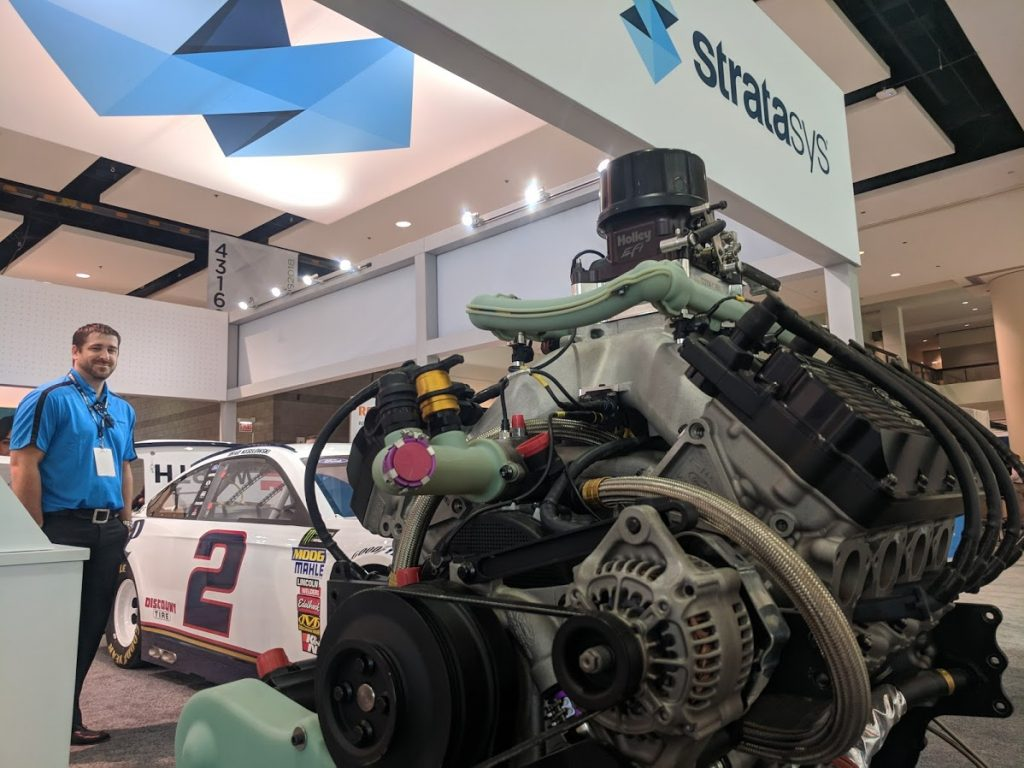 Stratasys demonstrated carbon fiber 3D printing for Team Penske at IMTS 2018. Photo by Michael Petch.