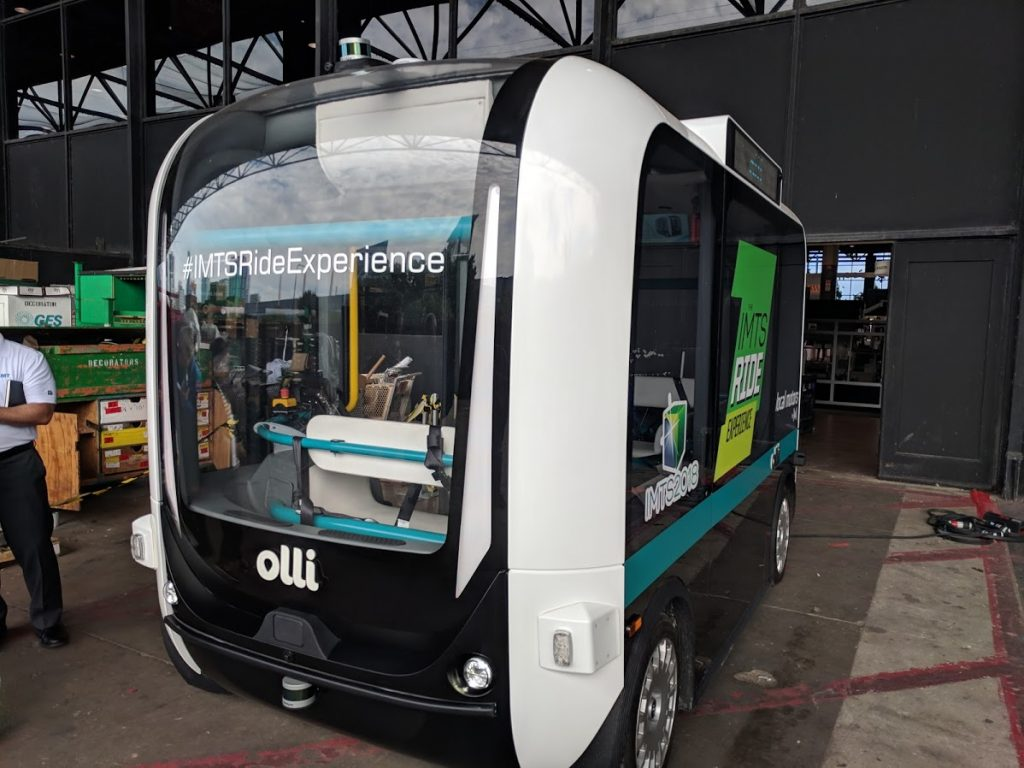 The 3D printed autonomous vehicle Olli at IMTS 2018. Photo by Michael Petch.