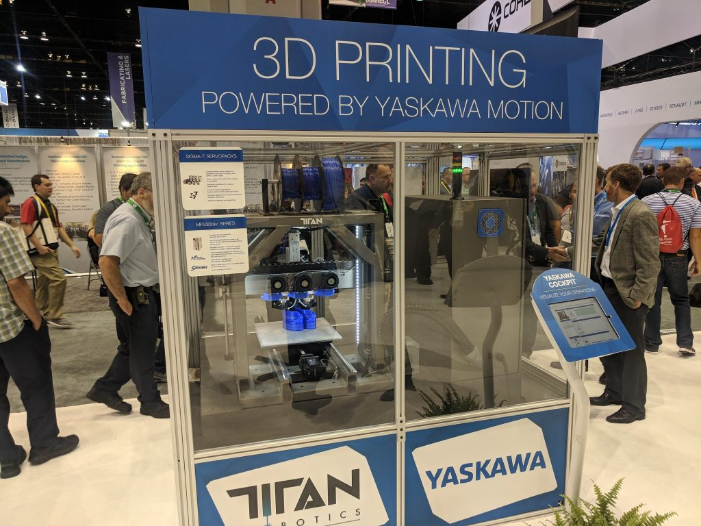 Titan Robotics and Yaskawa 3D printing at IMTS 2018. Photo by Michael Petch.