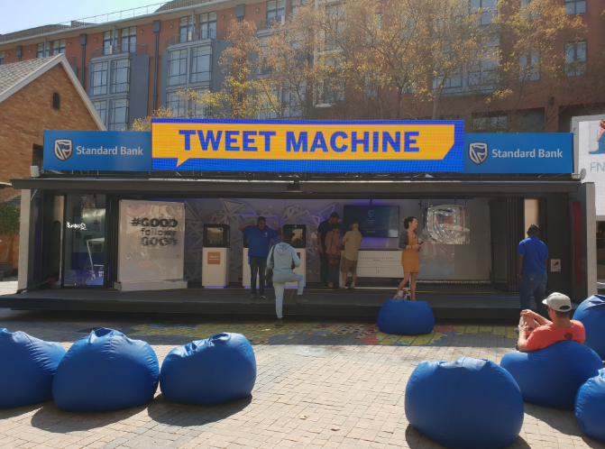 Standard Bank's Tweet Machine. Photo via Arthur Goldstuck.