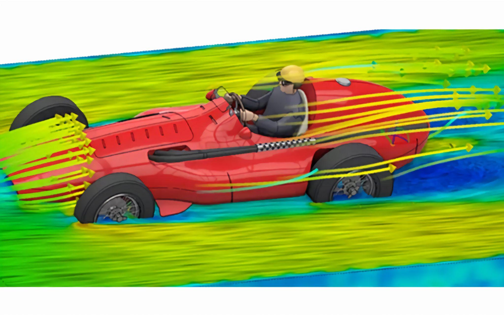 Car aerodynamics simulation in ANSYS. Image via Engineering