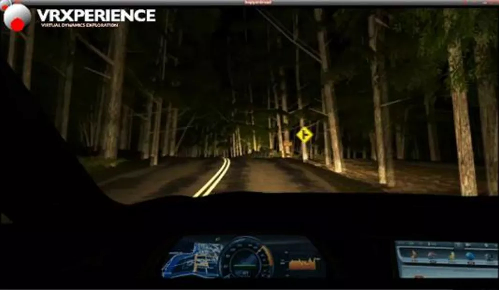 Night driving simulation in ANSYS VRXPERIENCE. Image via Engineering