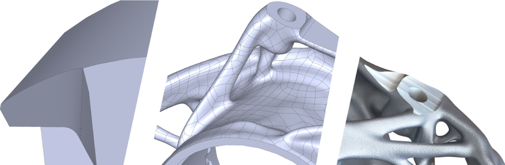 Step by step demonstration of traditional through to topology optimized part design. Image via AMendate