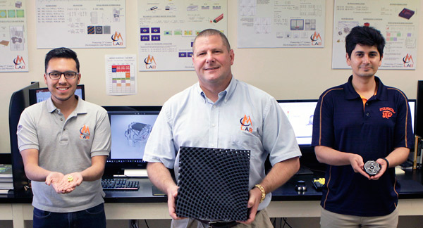 From left to right: Gilbert Carranza, Dr. Raymond C. Rumpf and Cesar Valle. Photo via UTEP