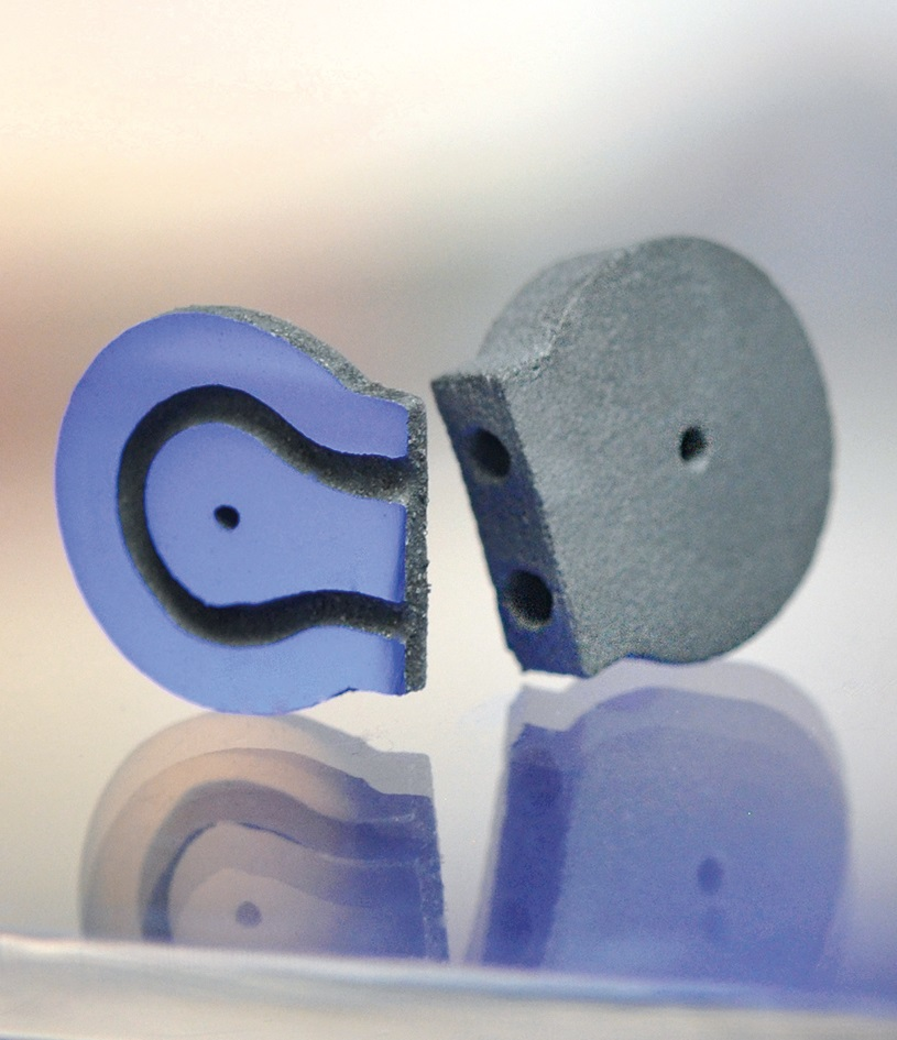 A binder jet 3D printed hard metal component from previous research at IKTS. Photo via Fraunhofer IKTS