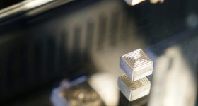 An FFF 3D printed hardmetal sample made on a Hage3D 140 L desktop system. Photo via Fraunhofer IKTS