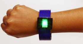 A fully-3D printed bangle battery with integrated LED light. Photo via ACS Applied Energy Materials