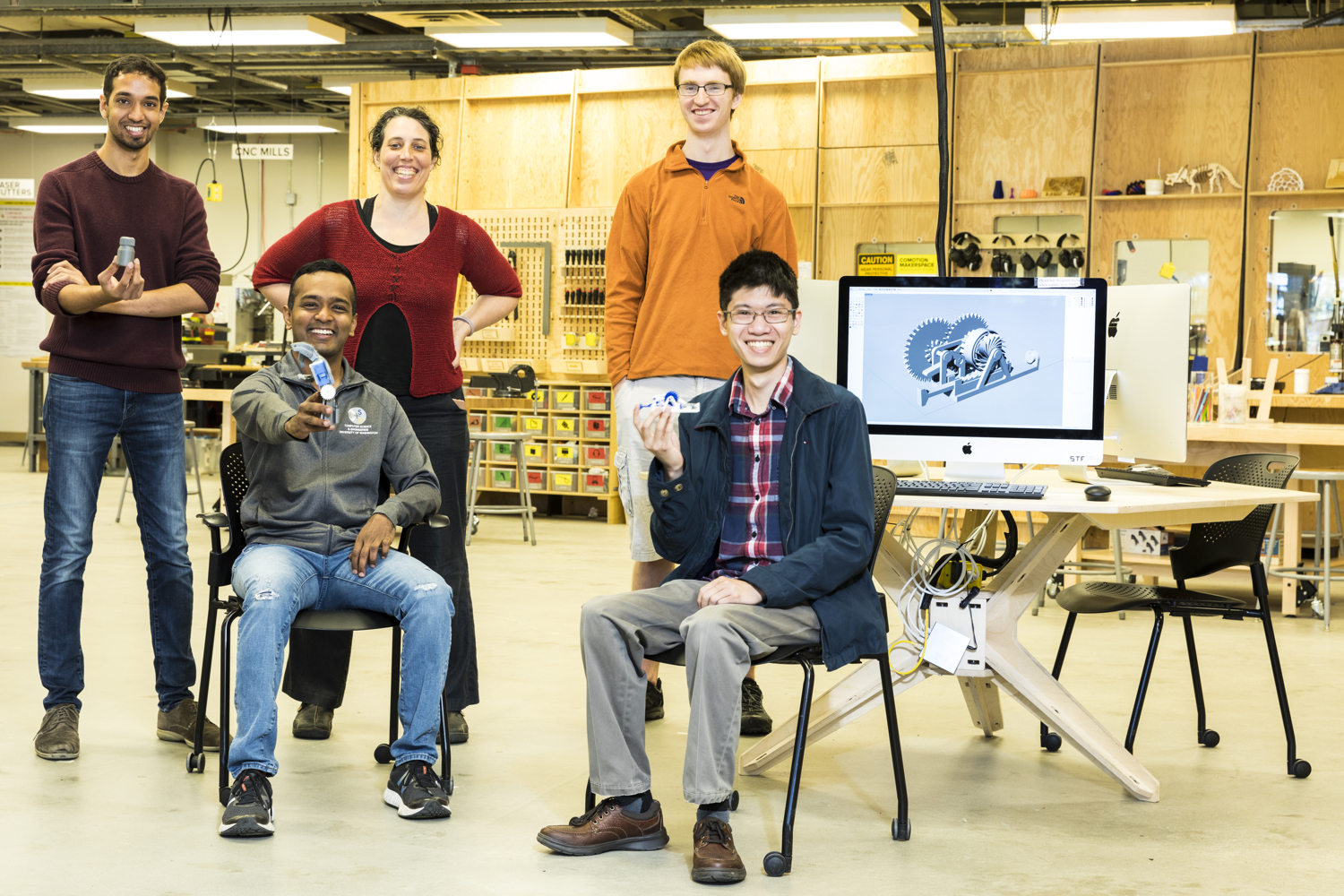 The engineering team at the University of Washington. Back row (left to right): Vikram Iyer, Jennifer Mankoff, Ian Culhane; Front row: Shyam Gollakota, Justin Chan. Image via Mark Stone/University of Washington