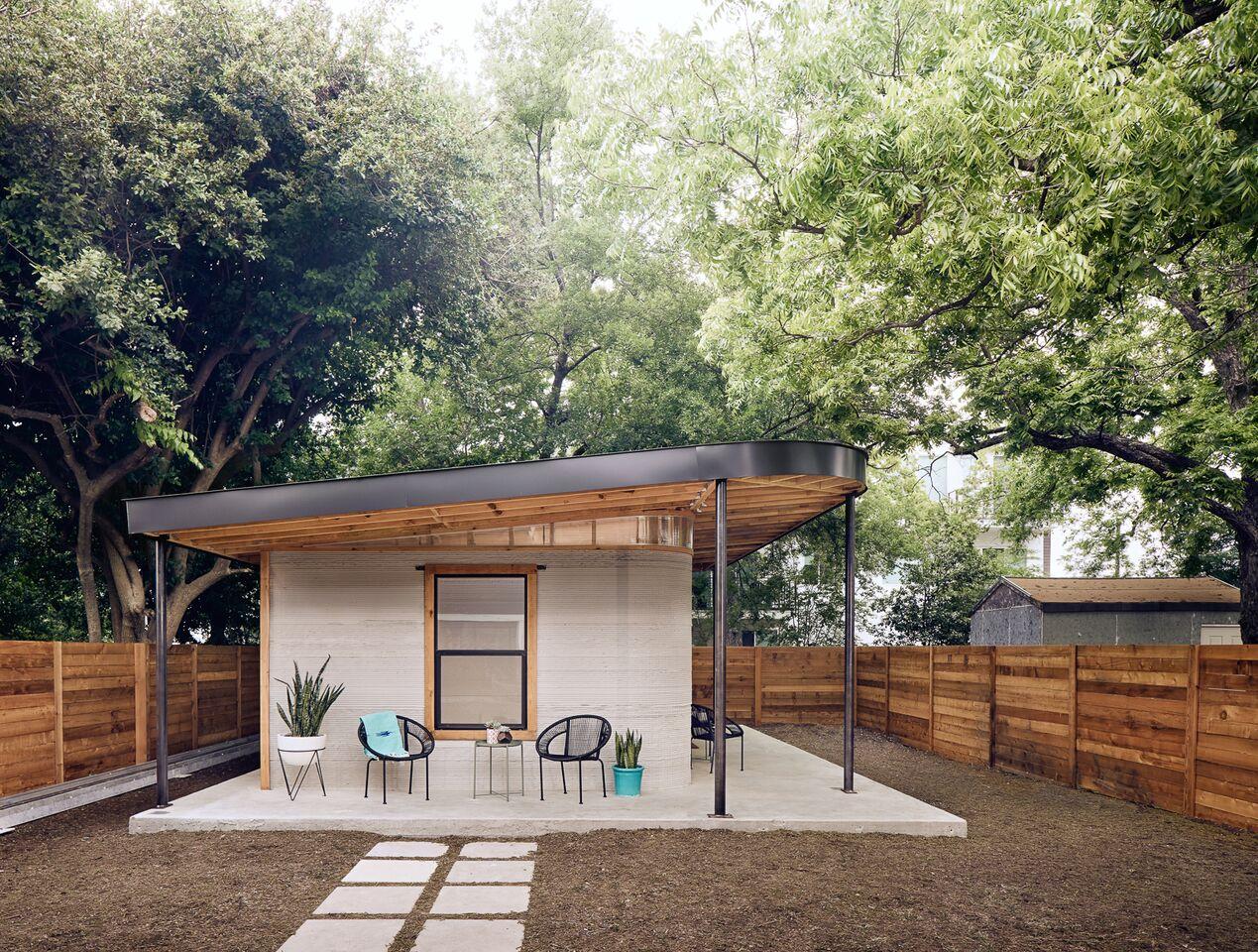ICON's first 3D printed home in Austin, Texas. Photo via ICON.