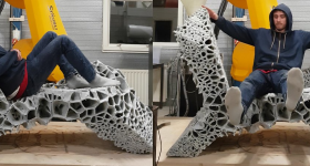 The 3D printed chaise-lounge. Photo via Robotic Building/TU Delft.