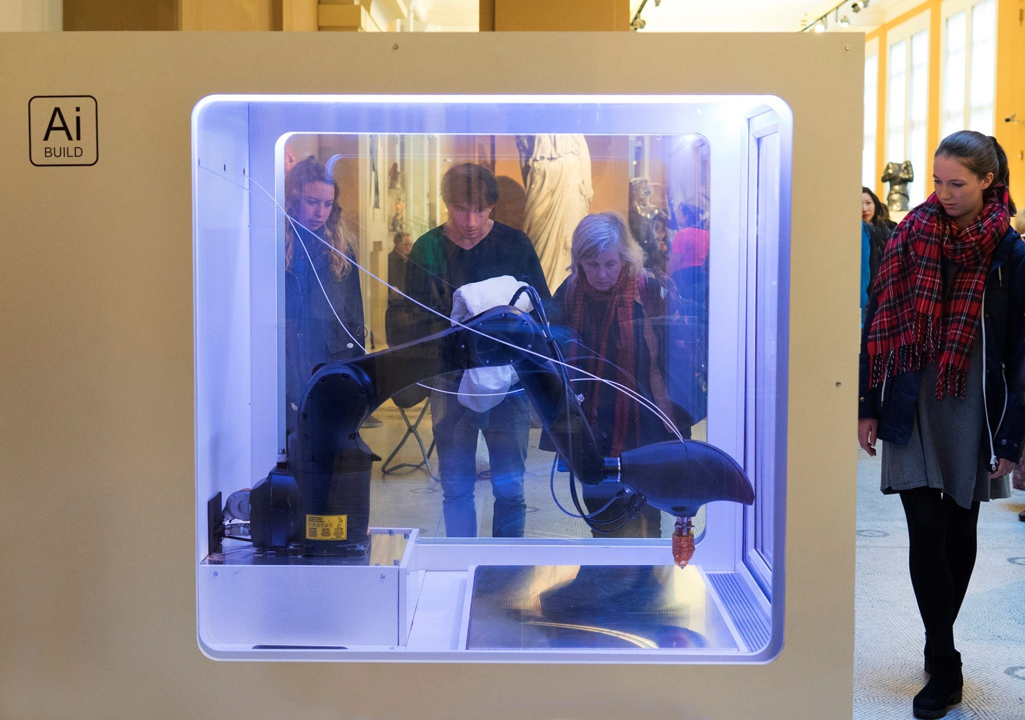 The AiMaker 3D printing inside the AiCell. Photo via Ai Build