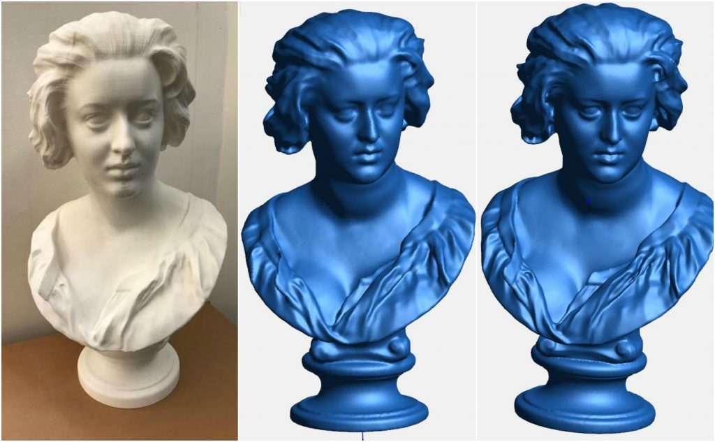 From left: replica 3D printed Bust of Costanza Bonarelli vs scan Test 4A and Test 4B.