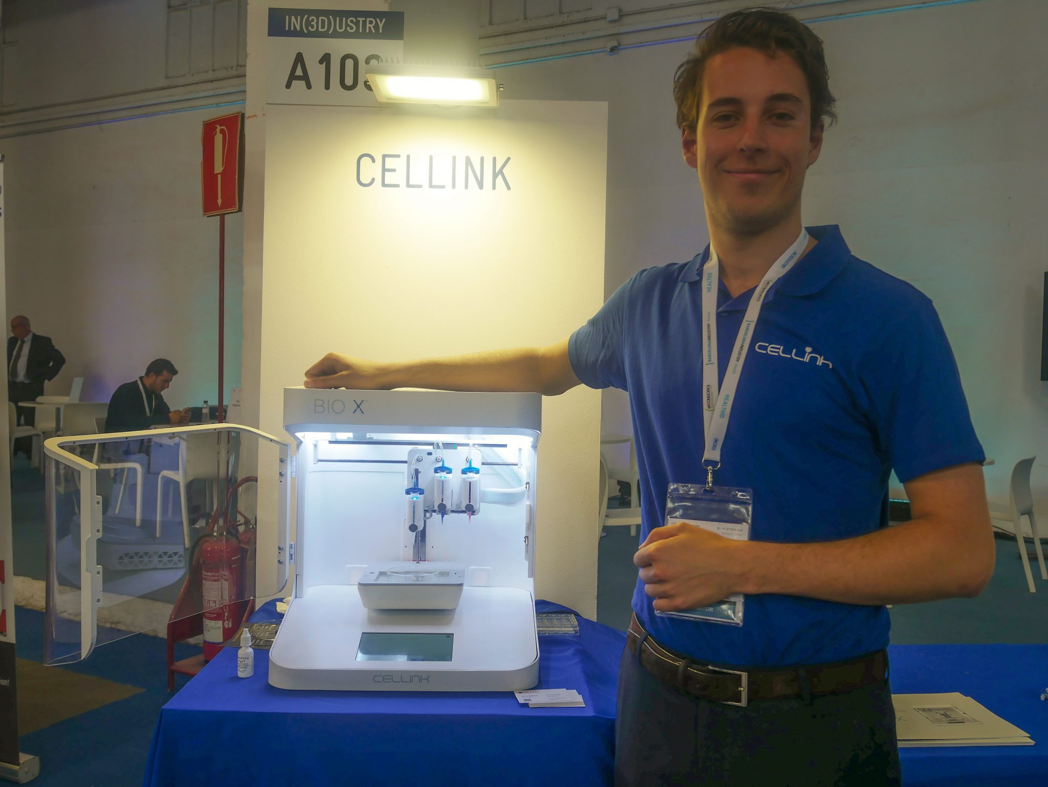 Joris van Aken, an Application Engineer at CELLINK next to the BIO X 3D printer. Photo by Tia Vialva.