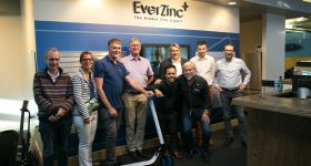 The EverZinc team and Avi Reichental (middle right). Photo via EverZinc/EverZinc Digital