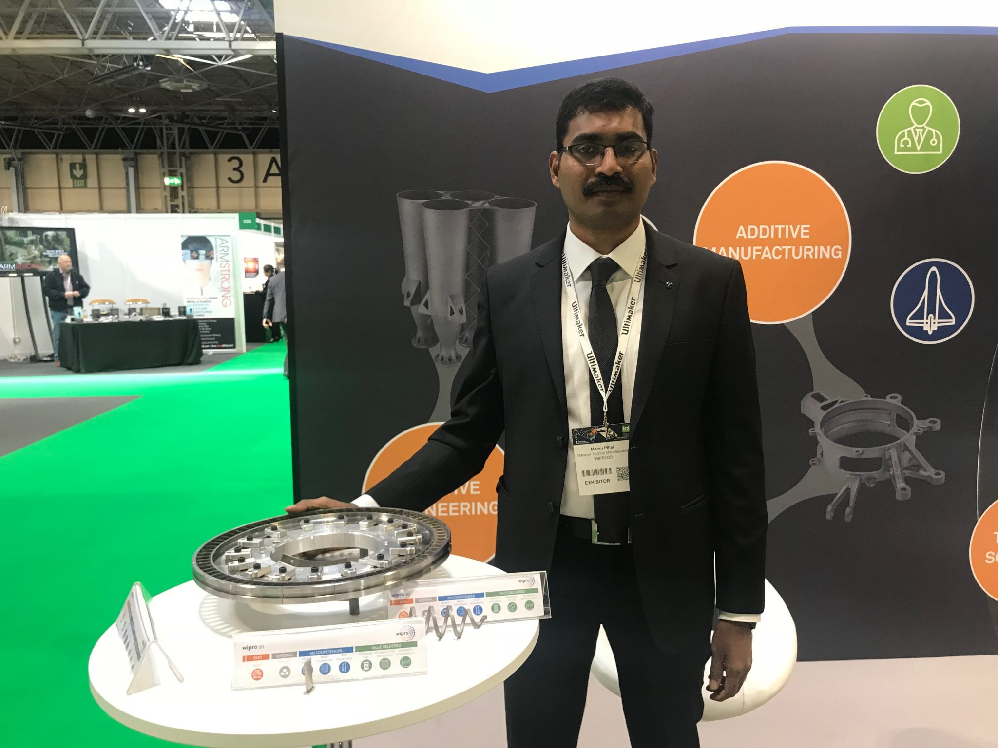 Manoj S Pillai of Wipro 3D at TCT 2018 in the UK. Photo by Swamini Khanvilkar.