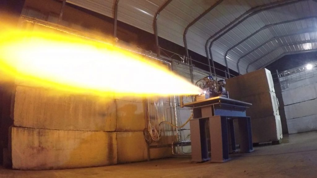 Test firing of an engine injector. Photo via Stratolaunch