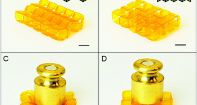 Origami assemblies tuned to be flat (left) or supportive (right) when bearing a load. Image via Soft Matter