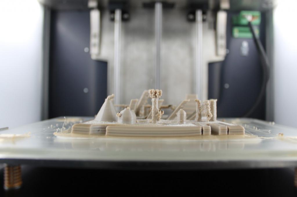 Side view, 3D printer torture test in PEEK, with slight warping.
