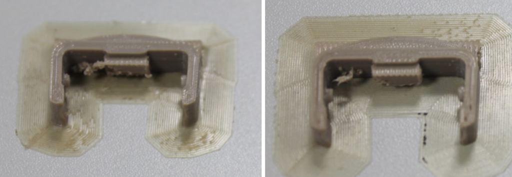 Part 1 3D printed with active adaptive heating (left). And Part 2, 3D printed without active adaptive heating (right).