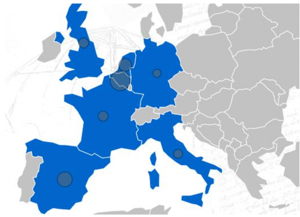 Distribution of AM-Motion partners across Europe. Image via AM-Motion