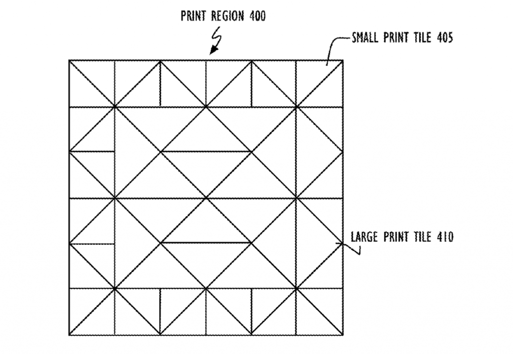 Dynamically sized triangles in triangular tessellation used to make a basic square. Image via USPTO/Apple