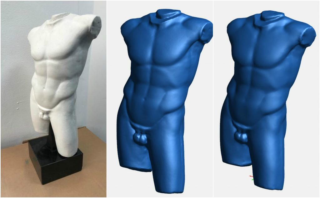 From left: 3D printed replica of the Diadumenos Male Torso vs scan Test 1A and Test 1B.