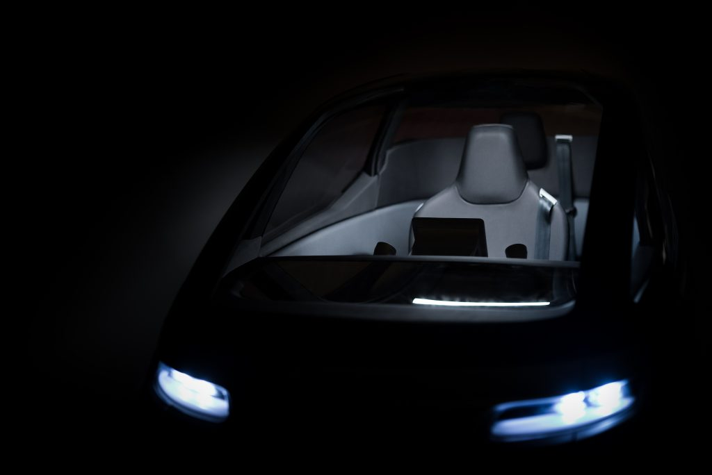 Inside the Uniti One electric vehicle. Photo via Uniti Sweden