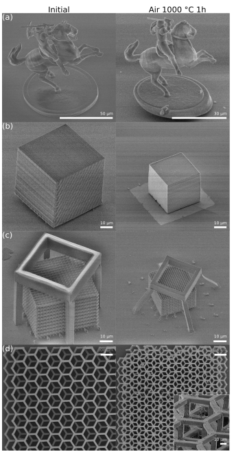 As-printed microstructures (left) vs the same structures post-sintering (right). Image via Vilnius University