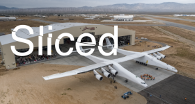 Sliced logo over an image of a Stratolaunch test vehicle. Original image via Stratolaunch