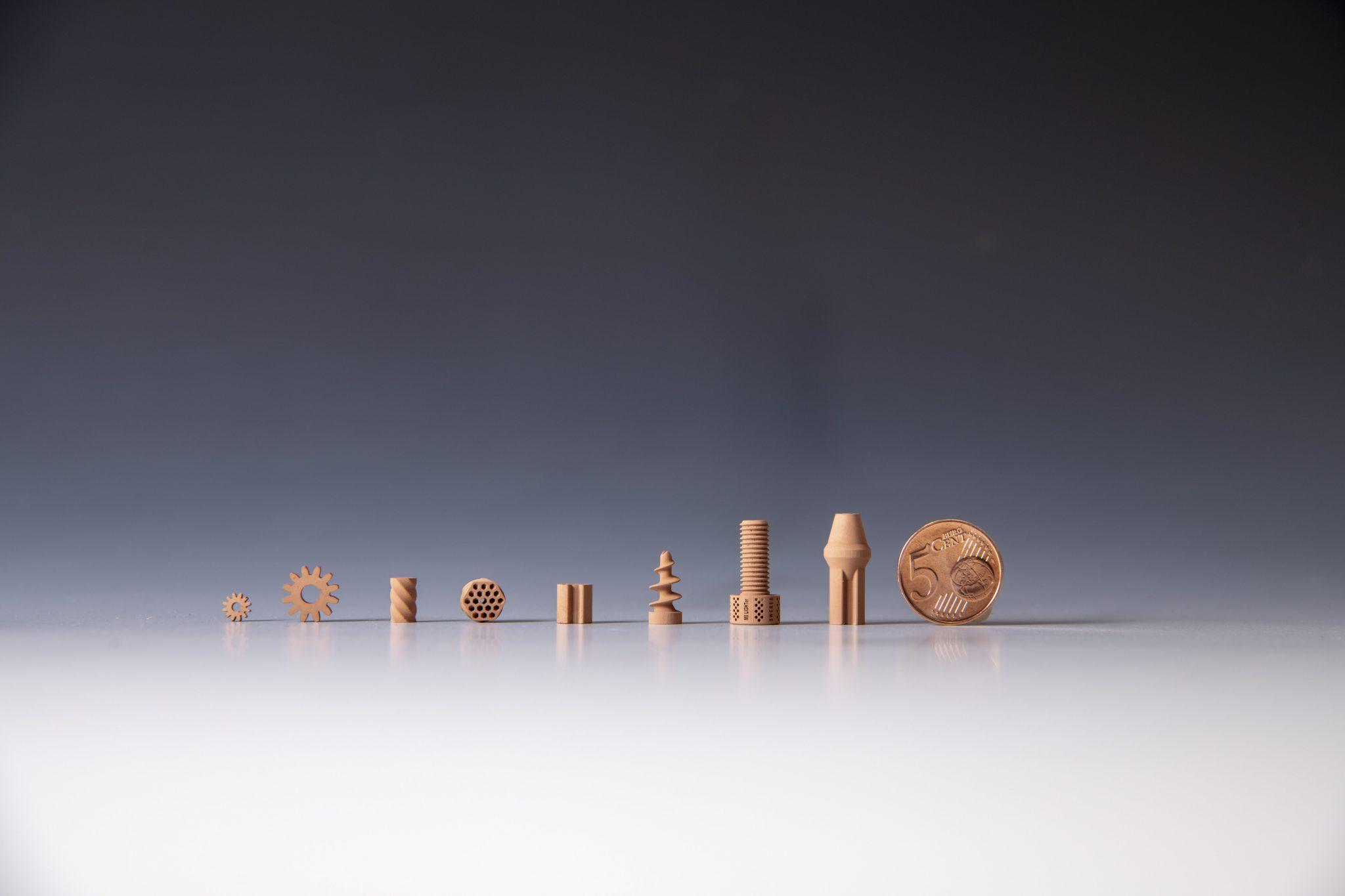 3D printed ceramic parts made by Lithoz and ESA from regolith simulant. Photo copyright ESA–G. Porter, CC BY-SA 3.0 IGO