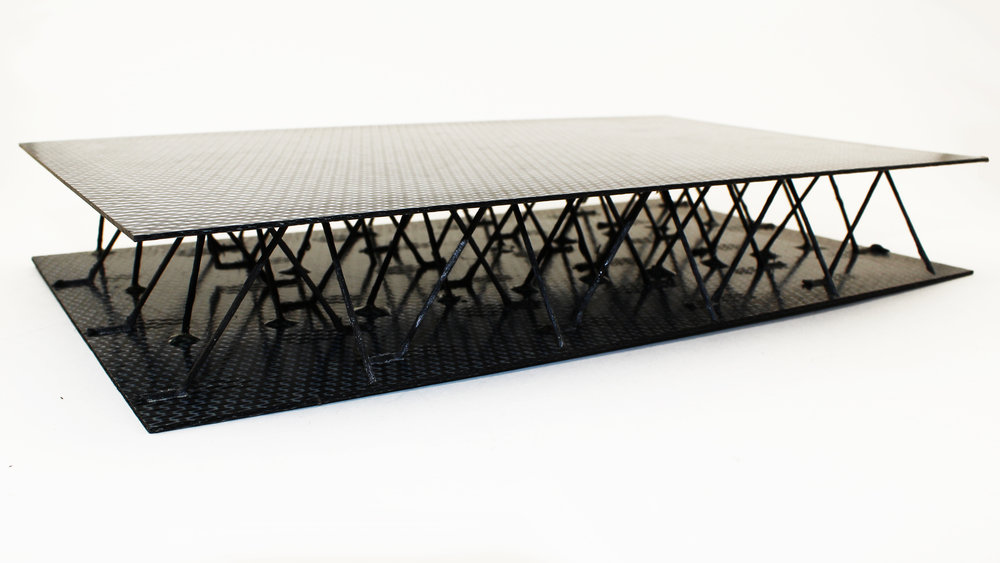 An ultra-lightweight sandwich panel for aerospace applications produced by the 3D carbon printer - photo via 9T Labs