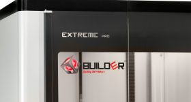 Logo close-up on the Builder Extreme 2000 Pro 3D printer. Photo via Builder3D