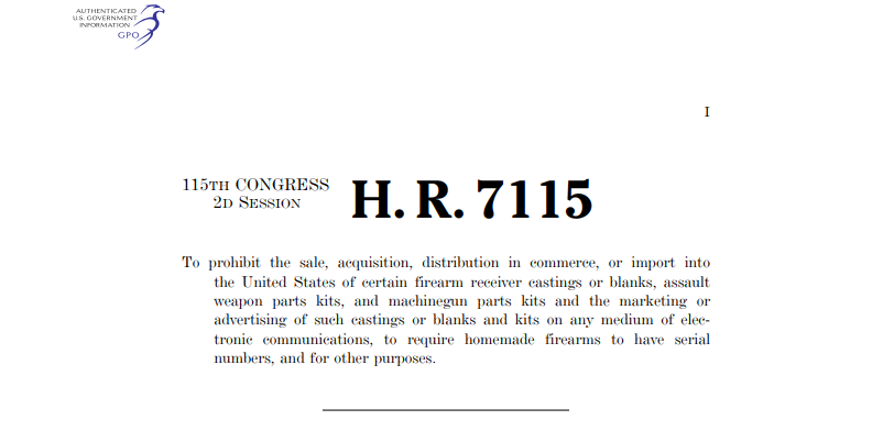 "Opening text of the proposed H.R. 7115 ""3D Firearms Prohibition Act."" Image via U.S. Congress"