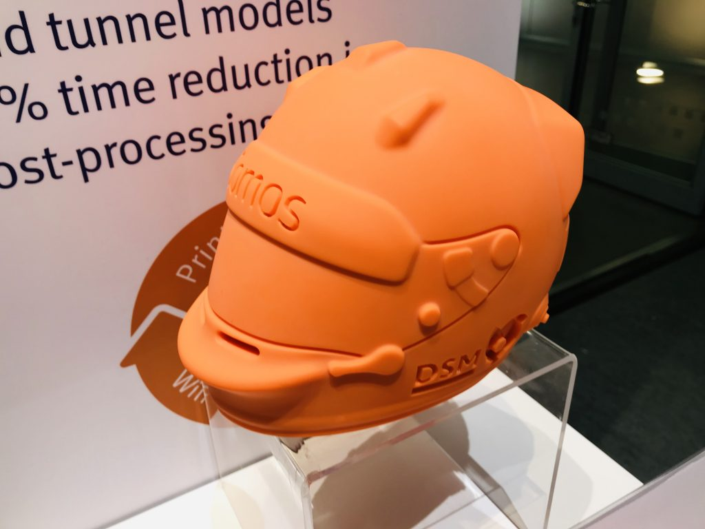 3D printed helmet model made from DSM Somos PerFORM Reflect. Photo by Beau Jackson