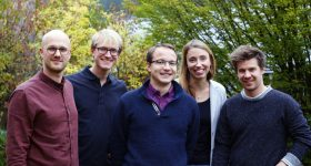 The Kumovis team from left to right. Alexander Henhammer, Stefan Fischer, Sebastian Pammer, Miriam Haerst, Stefan Leonhardt.