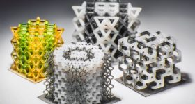 Multi-material 3D printed lattices. Photo by Kavin Kowsari/UCONN.