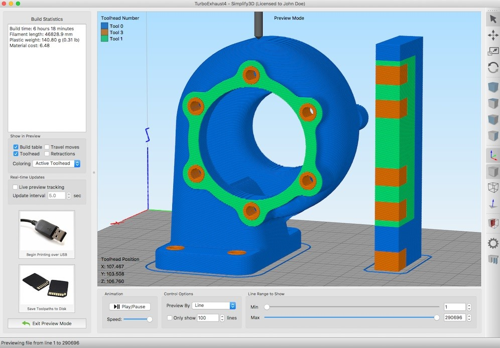 Multi-Material Turbo Housing using Simplify3D 4.1. Image via Simplify3D.