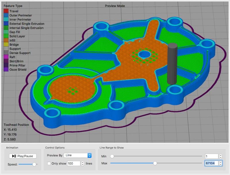 Pre print simulation on Simplify3D software 4.1. Image via Simplify3D.