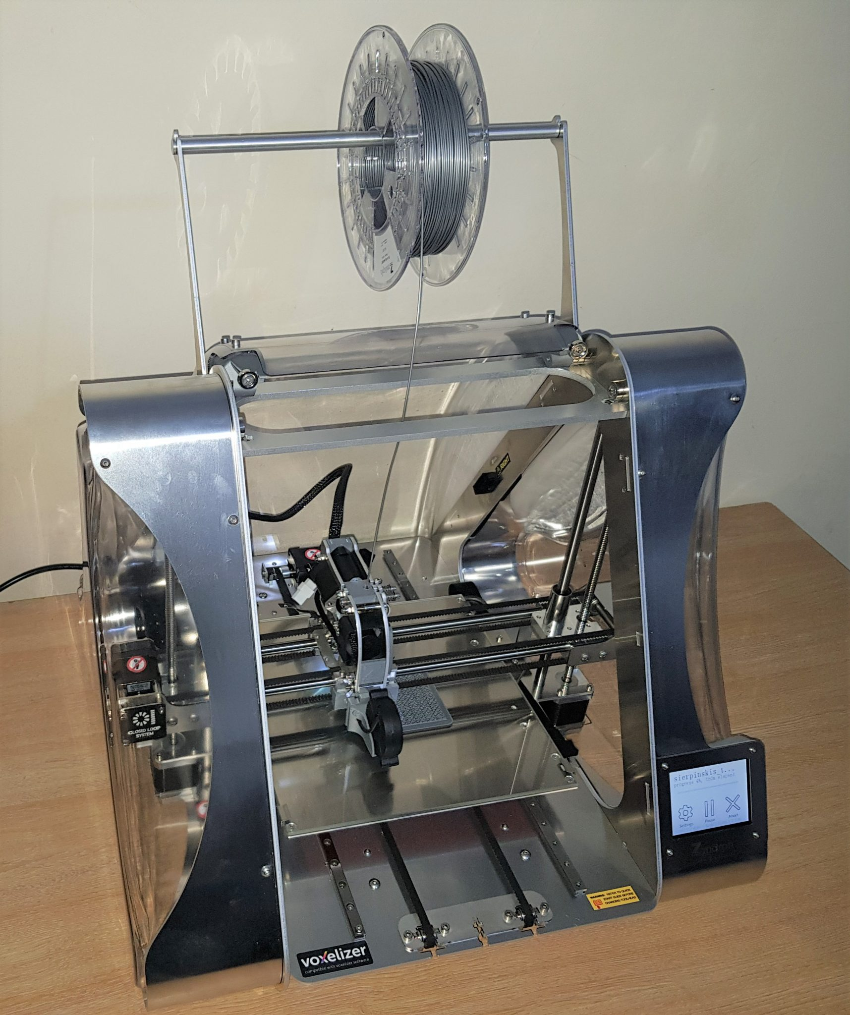 ZMorph VX multitool 3D printer unboxed with spool holder attached.